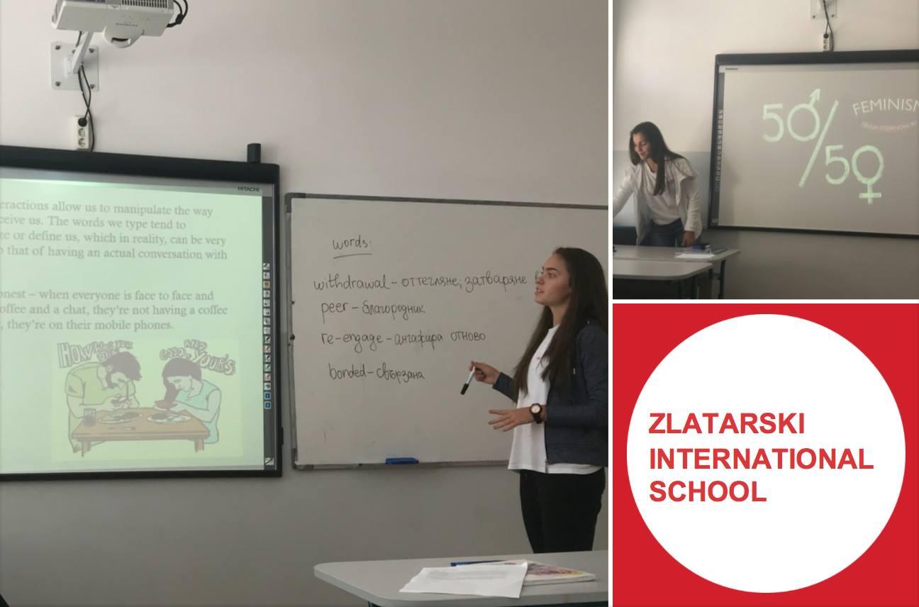 Presentations in English lessons at Zlatarski International School of Sofia
